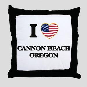 I love Cannon Beach Oregon Throw Pillow