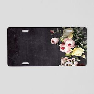 shabby chic flowers Aluminum License Plate