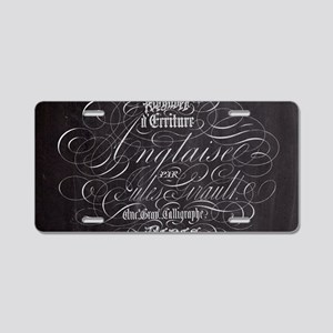 vintage french scripts pari Aluminum License Plate