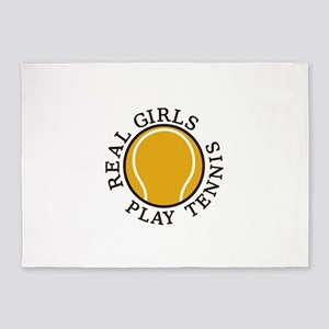 Real Girls Play Tennis 5'x7'Area Rug