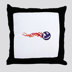 Flaming Volleyball Throw Pillow
