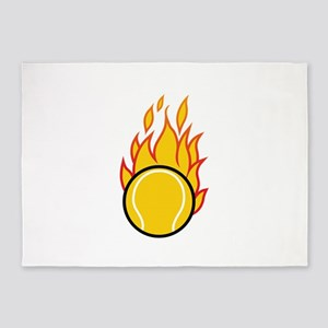 Flaming Tennis Ball 5'x7'Area Rug