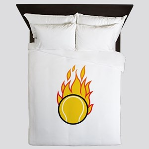 Flaming Tennis Ball Queen Duvet