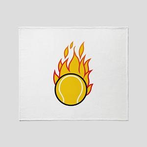 Flaming Tennis Ball Throw Blanket