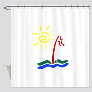 Rainbow Golf Green Shower Curtain