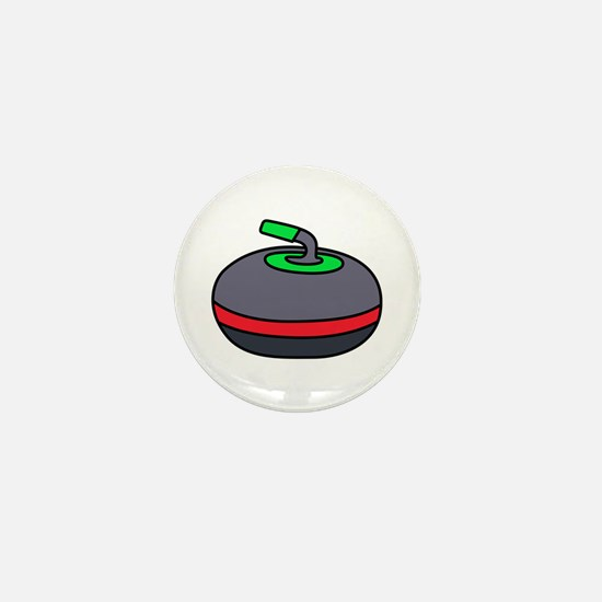 Curling Rock Mini Button