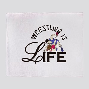 Wrestling is Life Throw Blanket