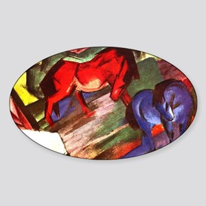 Horses by Franz Marc Oval Sticker