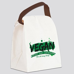Vegan Peace Love Compassion Canvas Lunch Bag