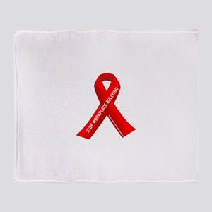 Red Ribbons for Workplace Bullying Awareness Throw