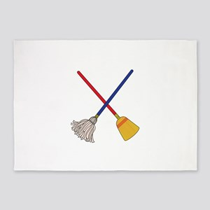 Crossed Mop & Broom 5'x7'Area Rug
