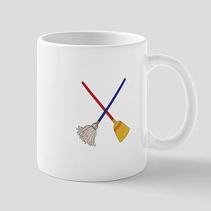 Crossed Mop & Broom Mugs