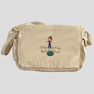 Friend Walks In Messenger Bag