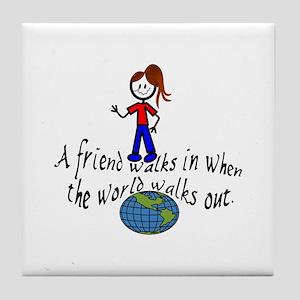 Friend Walks In Tile Coaster