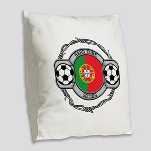 Portugal Soccer Burlap Throw Pillow