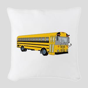 School Bus Woven Throw Pillow