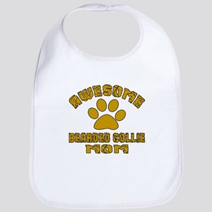 Awesome Bearded Collie Mom Dog Des Cotton Baby Bib