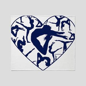 Blue Gymnastics Heart Throw Blanket