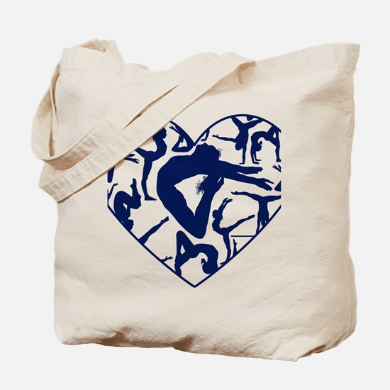 Blue Gymnastics Heart Tote Bag