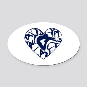 Blue Gymnastics Heart Oval Car Magnet