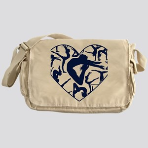 Blue Gymnastics Heart Messenger Bag