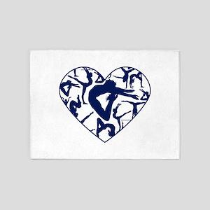 Blue Gymnastics Heart 5'x7'Area Rug
