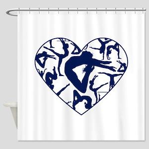 Blue Gymnastics Heart Shower Curtain
