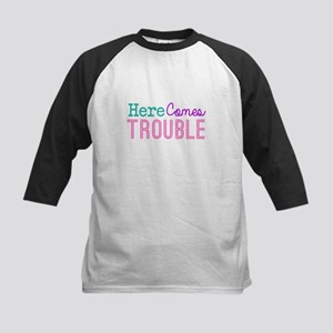Here Comes Trouble Girls Baseball Jersey