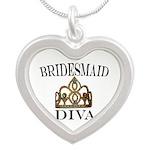 Bridesmaid Diva Silver Heart Necklace Necklaces