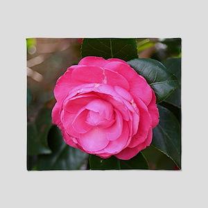 Dark pink camellia flower in bloom i Throw Blanket