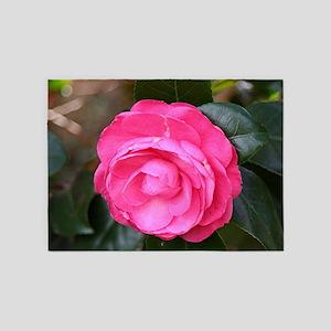 Dark pink camellia flower in bloom  5'x7'Area Rug