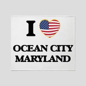 I love Ocean City Maryland Throw Blanket
