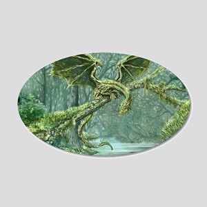 Grassy Earth Dragon 20x12 Oval Wall Decal