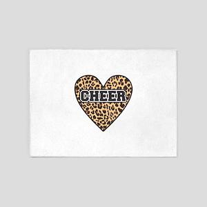 Leopard Cheer Heart 5'x7'Area Rug