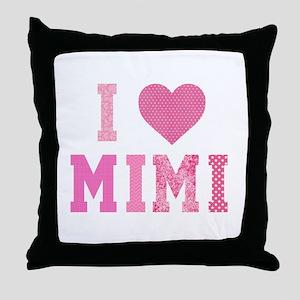 I love Mimi Pink Throw Pillow