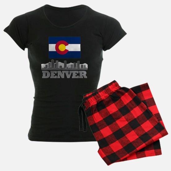 Denver Colorado Flag Skyline Pajamas