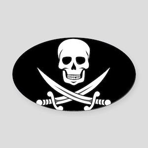 Skull and Swords Jolly Roger Oval Car Magnet
