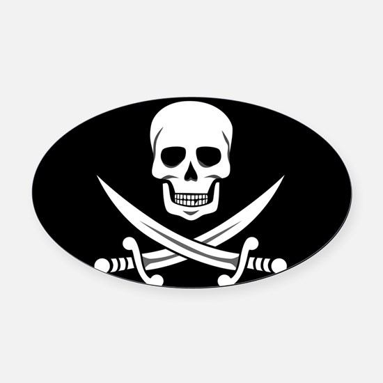 Skull and Swords Jolly Roger Oval Car Magnet