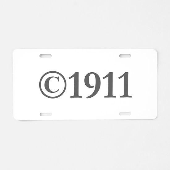 Copyright 1911-Gar gray Aluminum License Plate