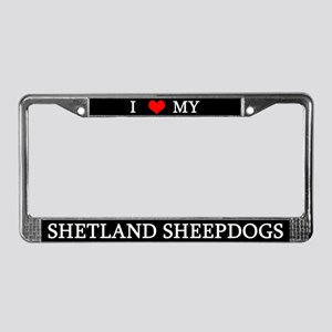 Love Shetland Sheepdogs License Plate Frame