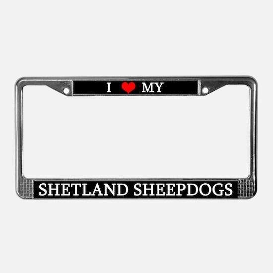 Love Shetland Sheepdogs License Plate Frame