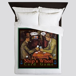 Ships Wheel Card Game Queen Duvet