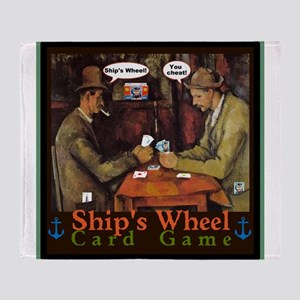 Ships Wheel Card Game Throw Blanket