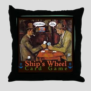 Ships Wheel Card Game Throw Pillow