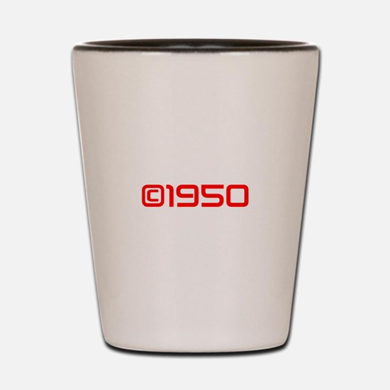 Copyright 1950-Sav red Shot Glass