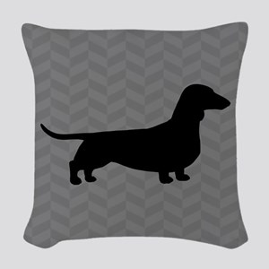 Dachshund Silhouette Woven Throw Pillow