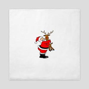 Santa hugging reindeer Queen Duvet