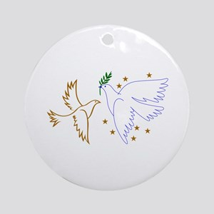 Two Doves with Stars Ornament (Round)