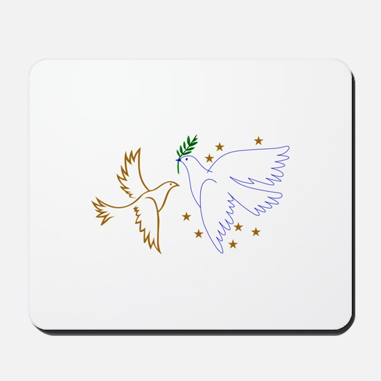 Two Doves with Stars Mousepad