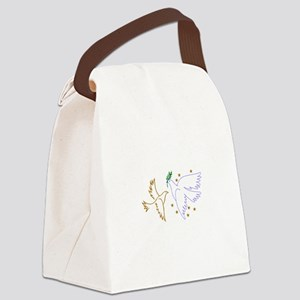 Two Doves with Stars Canvas Lunch Bag
